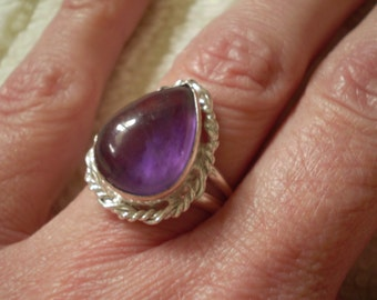 Amethyst (Natural) Sterling Silver Plated Size 9 Ring