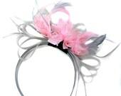 49f9afe3589a1 Grey Silver Baby Pink Fascinator on Headband AliceBand UK Wedding Ascot  Races Loop