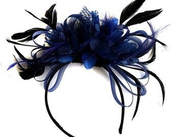 Navy Blue Hoop Feathers Beads Fascinator On Headband