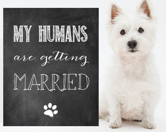 My humans are getting married dog sign - Wedding Engagement announcement chalkboard sing - INSTANT DOWNLOAD