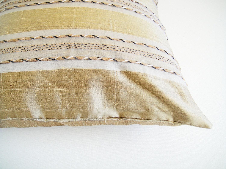 20 x 20 Pillow Cover Beige Gold Jute Silk Indian Decorative
