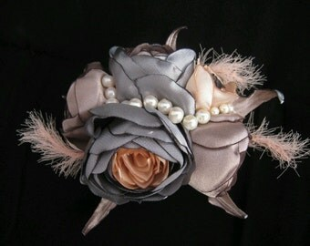 Handmade Exclusive Satin Flower Brooch or Hair Clip