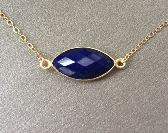 Lapis Necklace, Lapis Marquise Bar Necklace, Gold Filled Chain, Lapis Gold Necklace