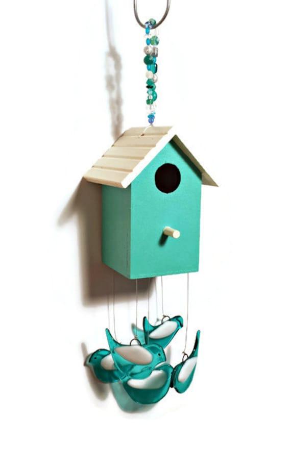 Wind Chime - Birdhouse - Whimsical Hand Painted Aqua Birdhouse Wind ...