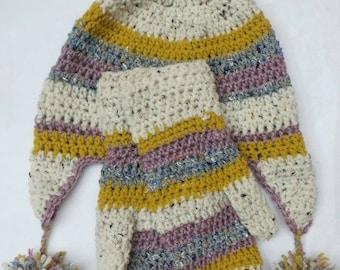 Crochet winter ear flap hat and mittens