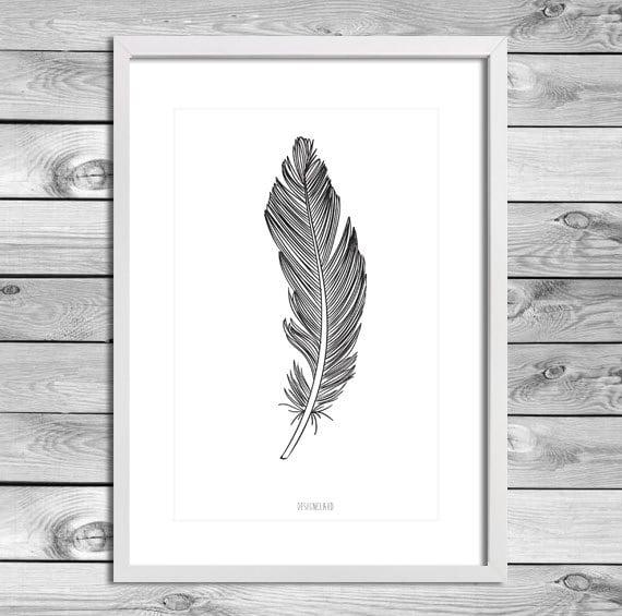Printable Art Poster Print - Veer Feather Verticaal Diverse Kleuren ...