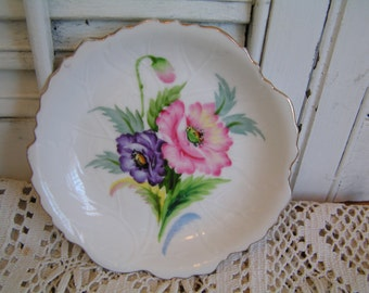 Vintage Hand Painted Bone China Occupied Japan Leaf Dish Pink Purple Flowers Scalloped Edge