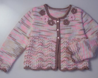 Toddler gift,Flower Girl,Baby Girl,Hand knitted Cardigan/Sweater,flowers, lace,white,pink, brown.