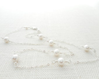 Sterling Silver Swarovski Crystal Pearl Station Necklace, White Pearl Tin Cup Necklace, Bridal Bridesmaid Wedding Jewelry