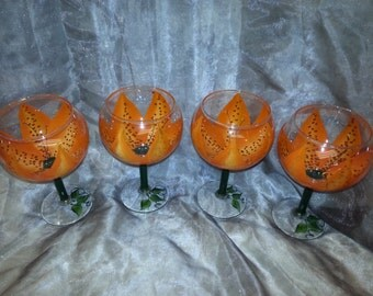 3-Dimension, Tiger Lily Wine glasses, set of 4