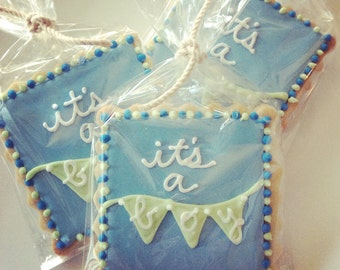 It's a Boy Iced Shortbread Cookies - 1 Dozen