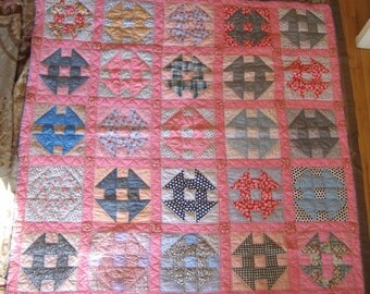 Pink 1930's vintage pinwheel quilt - hand pieced & quilted