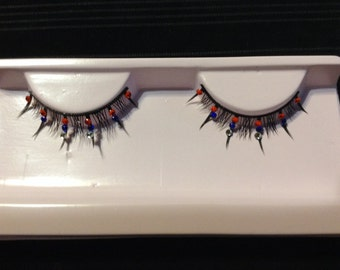 Red, White And Blue Rhinestone False Lashes
