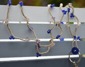 SALE Lanyard: Crocheted Tan Hemp with Light Pink & Royal Blue Beads
