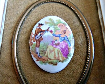 Porcelain FRAGONARD Cameo Picture Victorian Chic Decor Vintage Shabby Romantic Lovers Velvet Wall Hanging B&S Creations Valentines Love Gift