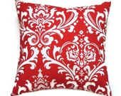 Red Damask Pillow, 20x20 Pillow Cover, Valentine Decorative Pillow, Accent Pillow, Cushion Cover, Ozborne Lipstick White