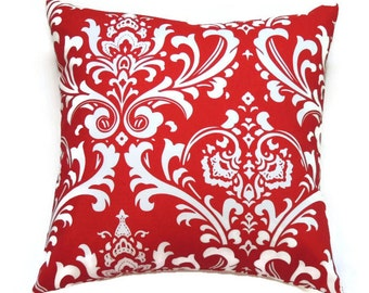 Red Pillow Cover, 20x20 Pillow Cover, Damask Decorative Pillows, Sofa Accent Pillow, Cushion Cover, Ozborne Lipstick White