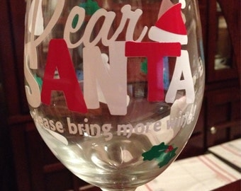 Christmas Wine Glass, Santa wine glass