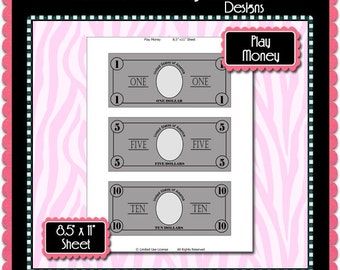 Play Money Template Instant Download PSD and PNG Formats (Temp636) Digital Bottlecap Collage Sheet Template