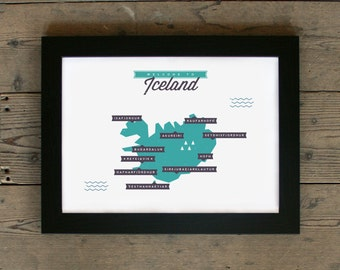 Iceland Map | # poster, print, vintage