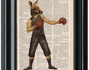BOXING KANGAROO Art PRINT,  Kangaroo Art, Kangaroo Art Print, Boxing Prints, Boxing Art, Cool Kangaroo Print, Kangaroo Artwork
