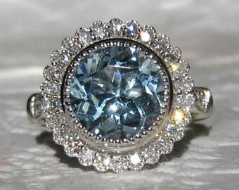 Aquamarine Engagement Ring, White Gold Diamond Halo Engagement Ring, Aquamarine Diamond Milgrain Bezel Engagement Ring, Gerbera Ring