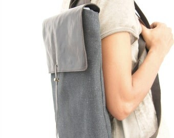 """Leather and Canvas Laptop Backpack 15""""  - Canvas Rucksack"""