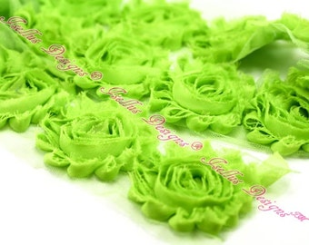 6 Piece Lime 2.5 Inch Shabby Flowers