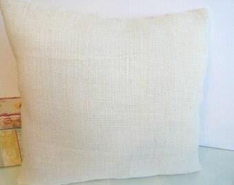 White Burlap decorative envelope style pillow cover.