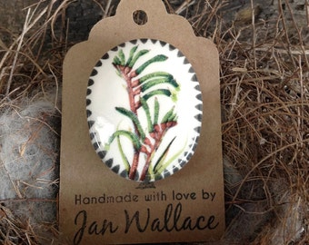 Ceramic Botanical Brooch Handmade - Australian Kangaroo Paw