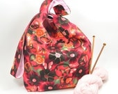 Large Knitting project bag - Crochet project bag - Japanese Knot Bag/Purse/Tote  - Cotton – Gift – Present - Flowers