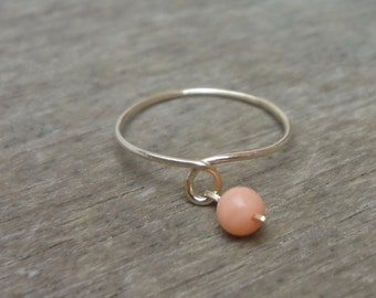 Gold ring with coral, gold ring with semiprecious stone