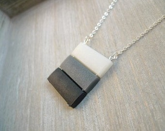 Ombre pendant necklace, Long necklace, black, grey and white necklace, Geometric striped necklace