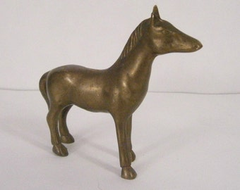 Vintage Small Brass Horse Figurine or Paperweight