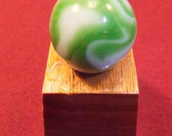 Antique Hand Blown Marble With Gorgeous Hand Crafted Butternut Stand
