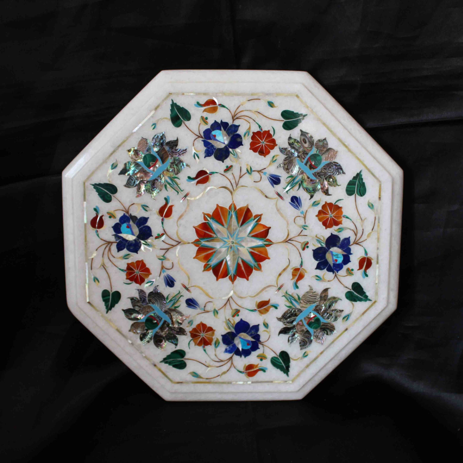 Antique White Marble Coffee Table: Coffee Table Top White Marble Antique Italian Inlay Floral