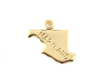 2x Gold Plated Engraved Maryland State Charms - M114-MD