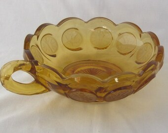 Fostoria Amber Coin Bowl With Handle