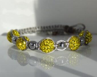 Yellow Pave'  and Hematite Macrame Bracelet
