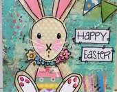 Spring Bunny | Easter  Decor | Mixed Media Sign | Mounted Print