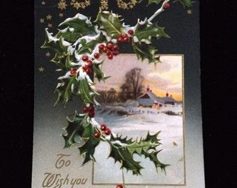 Vintage unused 1910 Happy New Year postcard