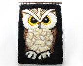 Large Vintage Owl Tapestry • Hook and Latch Art • 70s Owl Wall Hanging • Retro Owl Decor • Handmade Tapestry • Hippie Bohemian Home Decor