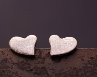 Fine silver design heart earring post, everyday stud earring.