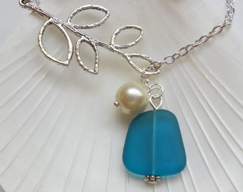 Teal Blue Sea Glass Necklace, Charm necklace, Pearl, Silver Branch, bridesmaid necklace, beach wedding.  FREE SHIPPING within the U.S.