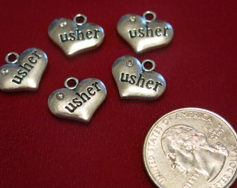 "5pc ""usher"" charms in antique silver style (BC443)"