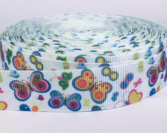 "5 yards of 7/8 inch ""Butterfly"" grosgrain ribbon"