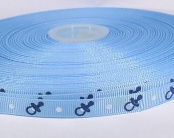 """5 yards of 3/8 inch """"Pacifier It's a boy"""" grosgrain ribbon"""