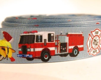"5 yards of 7/8 inch ""Fire truck"" grosgrain ribbon"