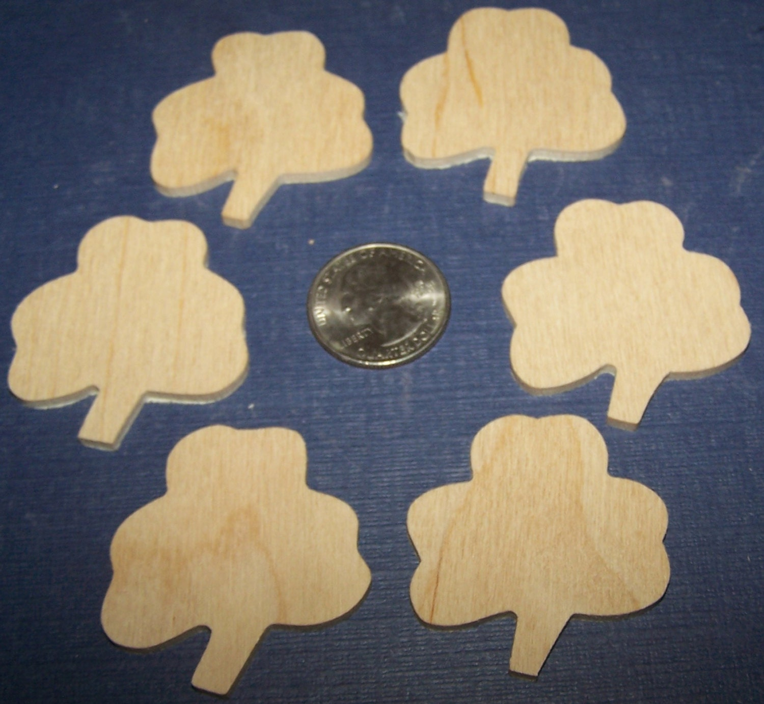 Wooden shamrock unfinished pieces set of 6 1 1 2 x 1 for Unfinished wood pieces for crafts