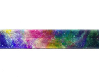 "5/8"" Rainbow Galaxy, Printed, Fold Over Elastic, Print, Pattern"